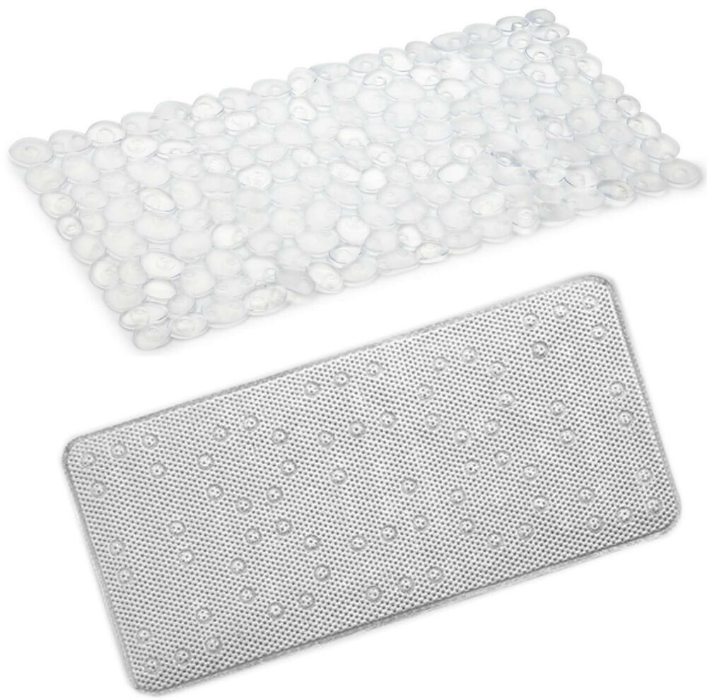 Beldray Extra Long Bath Mat Pebble Or Cushioned PVC With Suction Pad 90 X 40