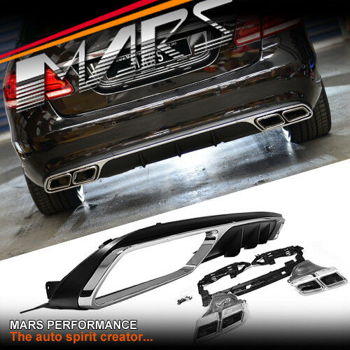Amg e63 style bumper diffuser exhaust tips for mercedes for Mercedes benz performance exhaust