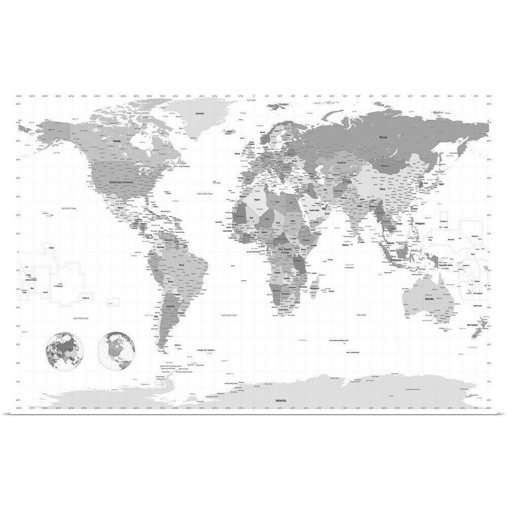 poster print wall art entitled world map black and white ebay. Black Bedroom Furniture Sets. Home Design Ideas
