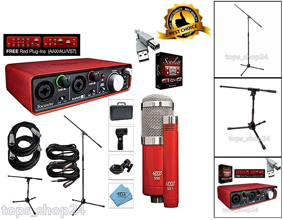home recording interface bundle studio specially package vocal audio mic stand ebay. Black Bedroom Furniture Sets. Home Design Ideas
