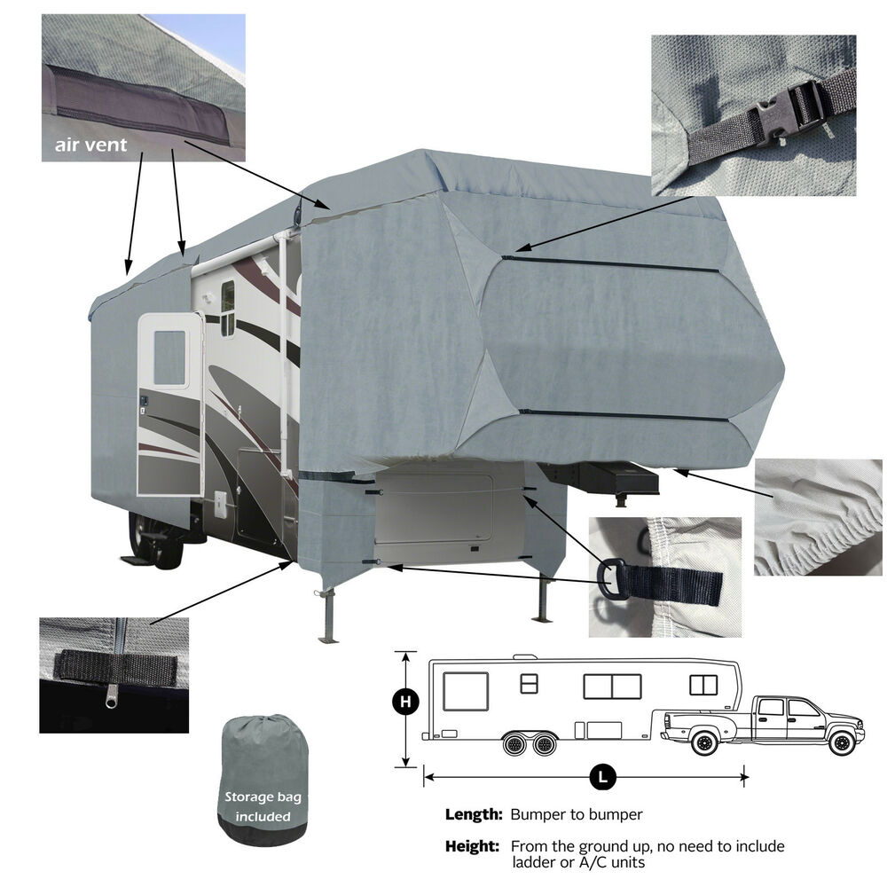 Deluxe 4 Layer 5th Wheel Rv Motorhome Camper Cover Fits 35