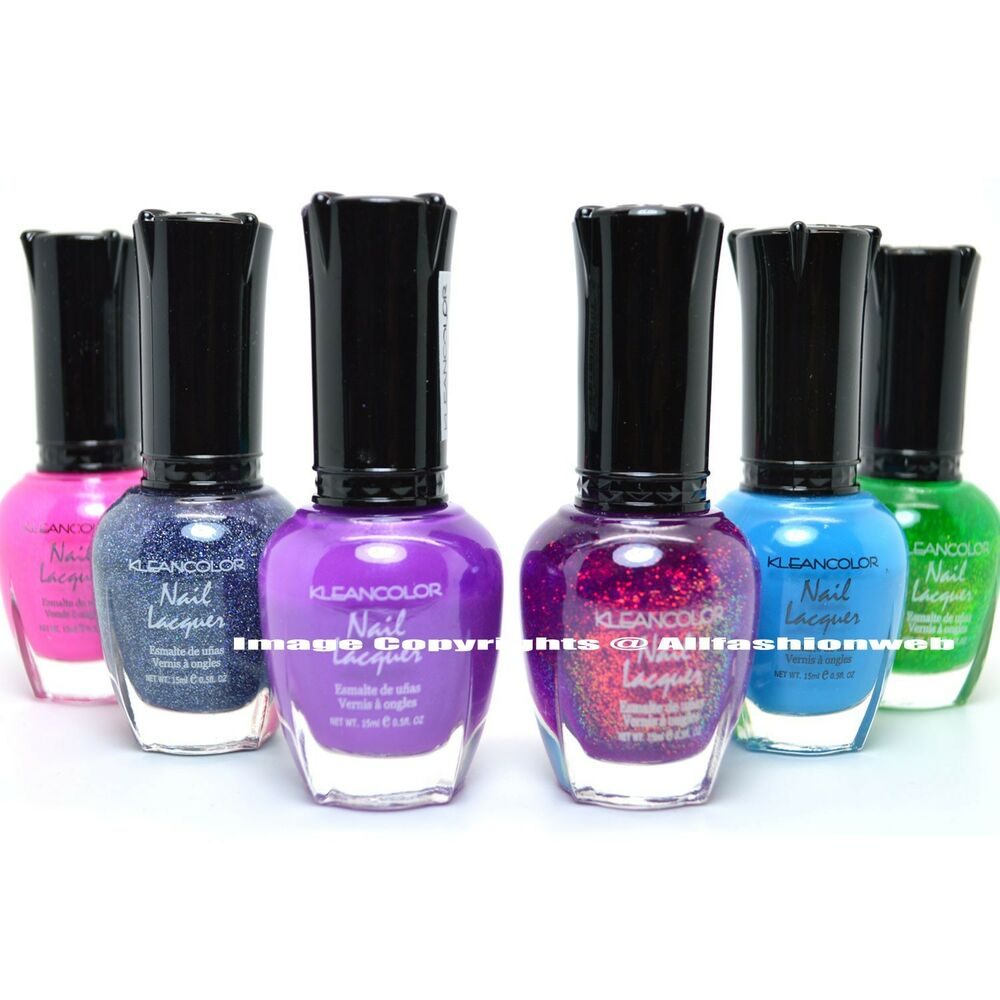 KLEANCOLOR 6 MIX COLORS NEON HOLO CHUNKY PINK NAIL POLISH