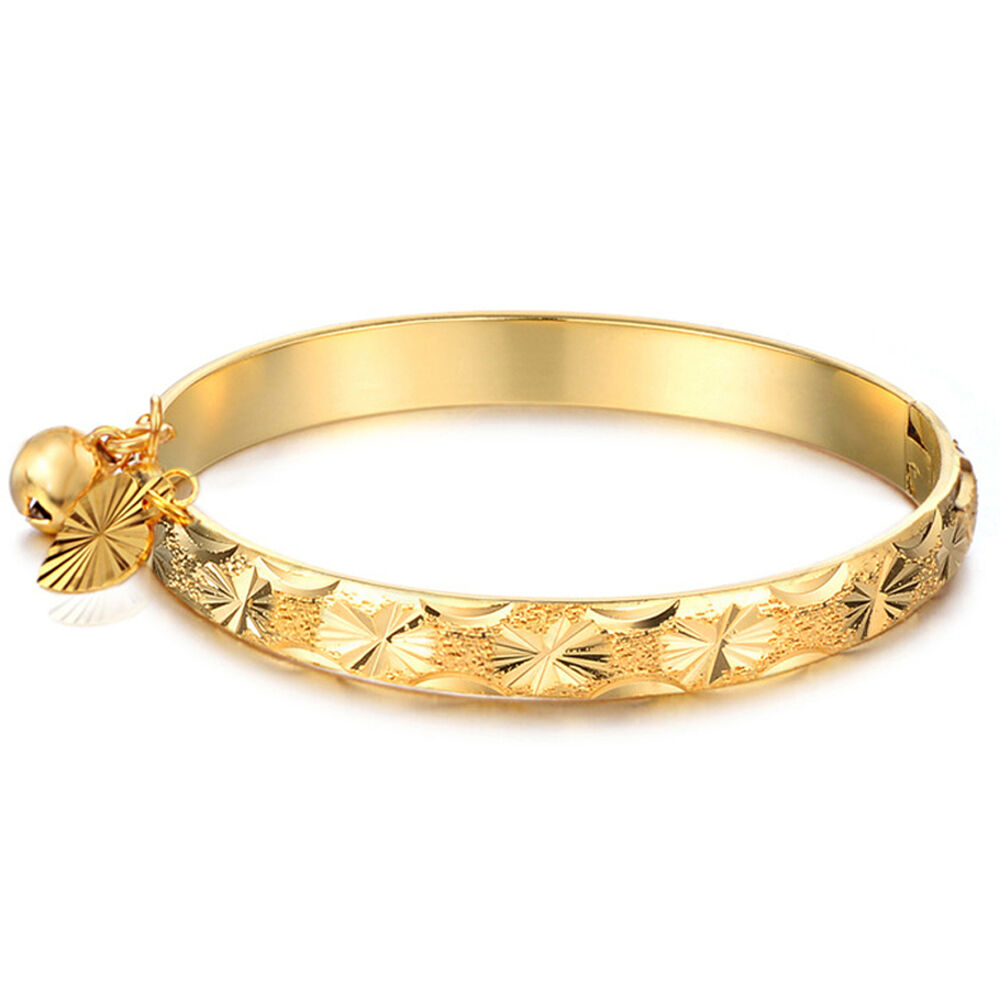 18K Gold Plated Bell Heart Bracelet Children Boys Girls ...