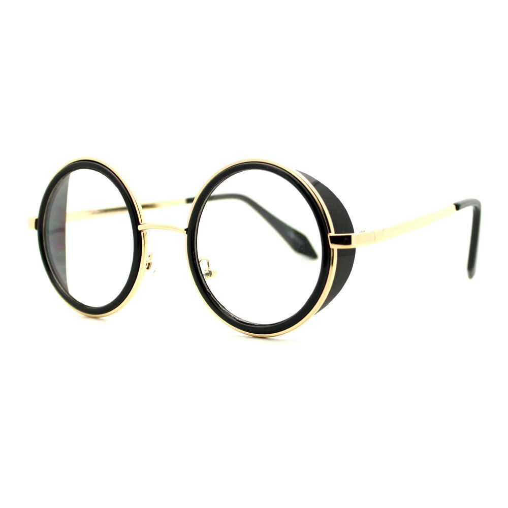 60014cb9ef Double Rim Clear Lens Glasses Side Cover Round Circle Frame UV 400 ...