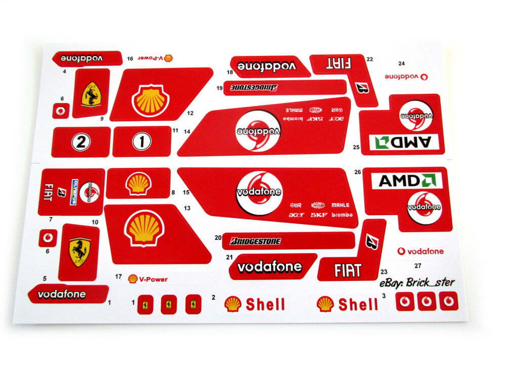 Custom Stickers For Lego 8674 Ferrari F1 Racer Models