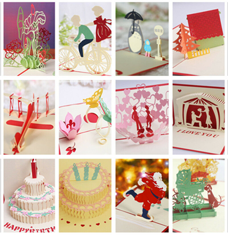3D Pop Up Greeting Cards Happy Birthday Valentine Easter