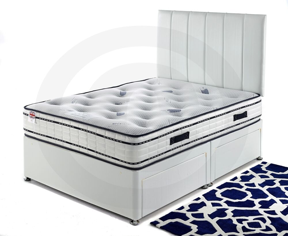 3ft 4ft 4ft6 5ft 6 White Leather Divan Bed With 25cm Sprung Memory Foam Mattress Ebay