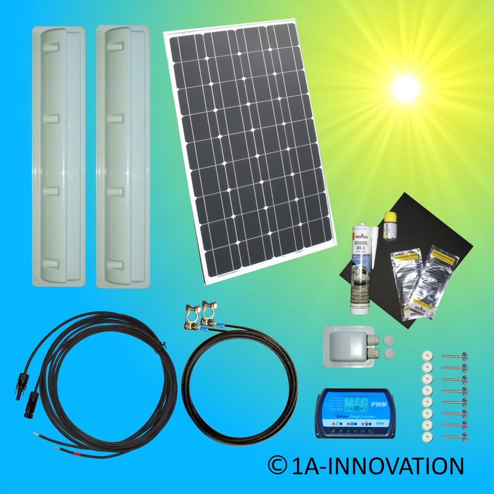100w caravan solar set 12v solaranlage solarmodul camping. Black Bedroom Furniture Sets. Home Design Ideas
