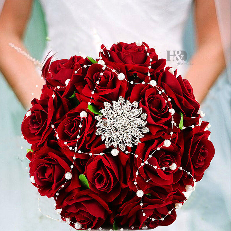 red roses wedding bouquet handmade bridal flower wedding bouquet pearls silk 7010