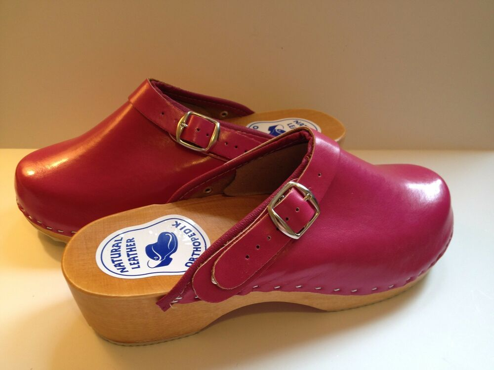 s wooden sole pink leather clogs shoes slip
