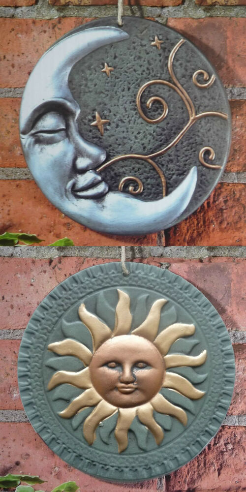 Terracotta Sun Or Moon Garden Wall Plaque Ornament Outdoor