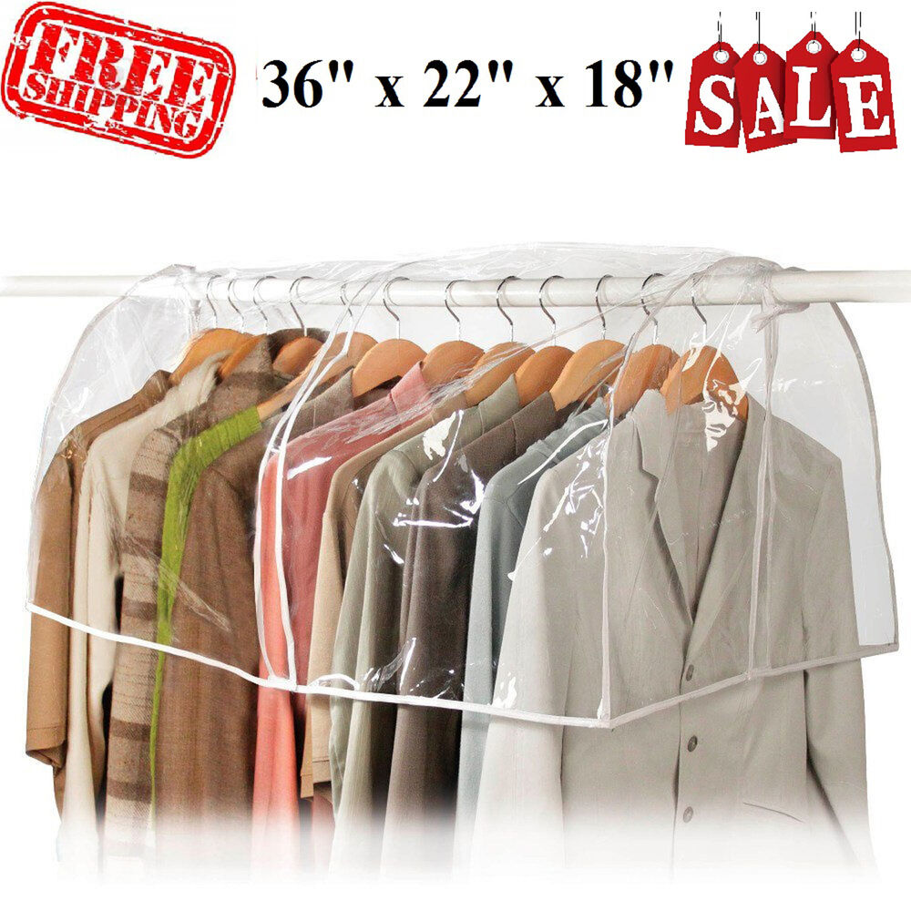 Clear Garment Bag Closet Suit Vinyl Clothes Storage Rack Cover Dust  Protector | EBay