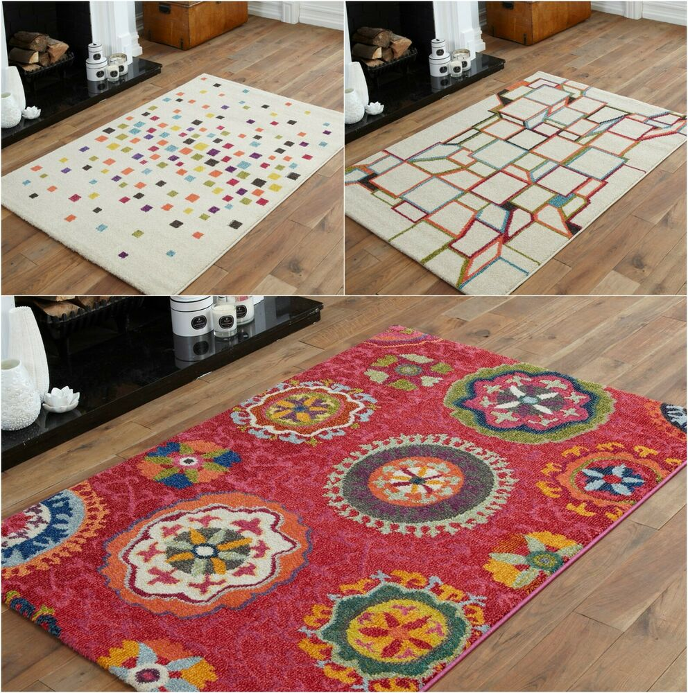 Small Large Pink Rug Cerise Runners Sparkle Modern Thick: SMALL GEOMETRIC SHAPE MULTI COLOUR RUG QUALITY MODERN 10