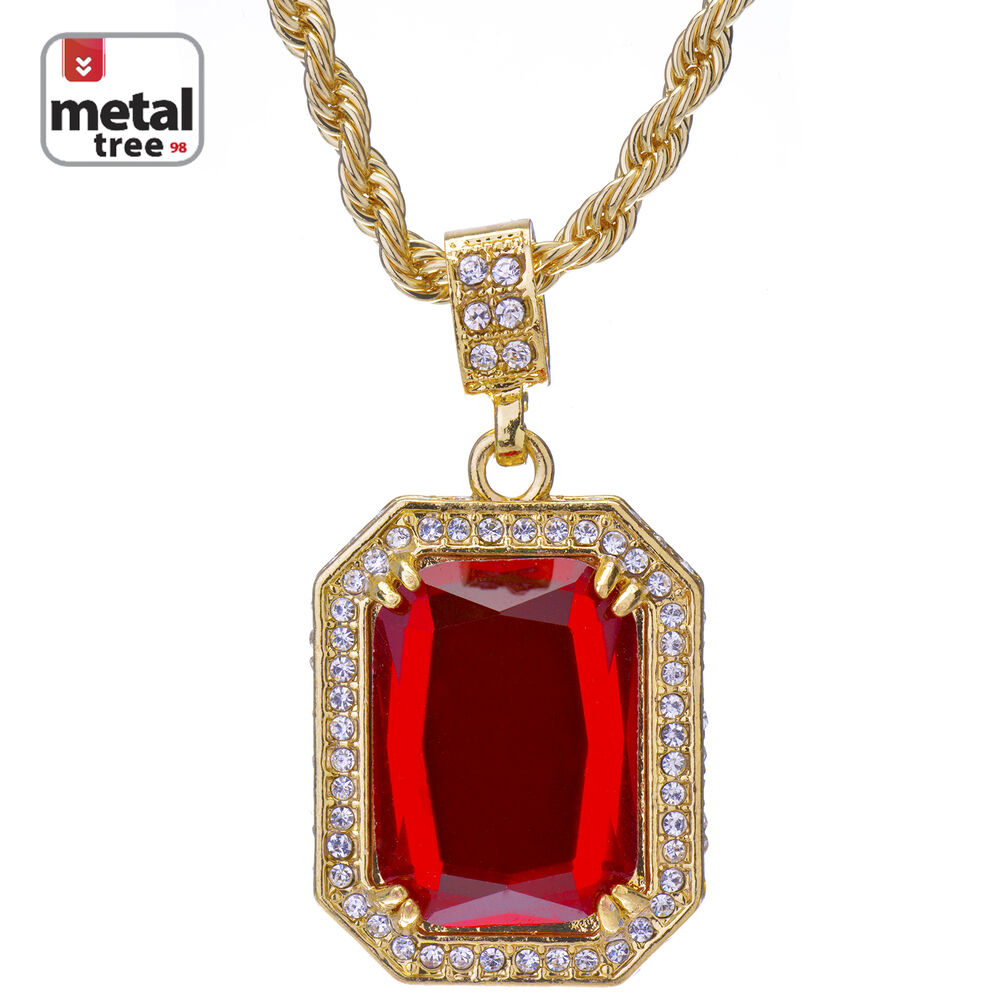s iced out square ruby pendant 24 quot rope chain