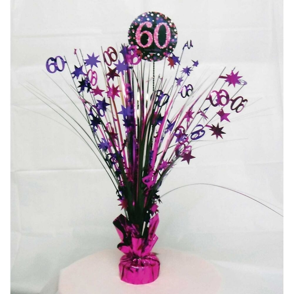 60th birthday spray centrepiece table decoration black. Black Bedroom Furniture Sets. Home Design Ideas
