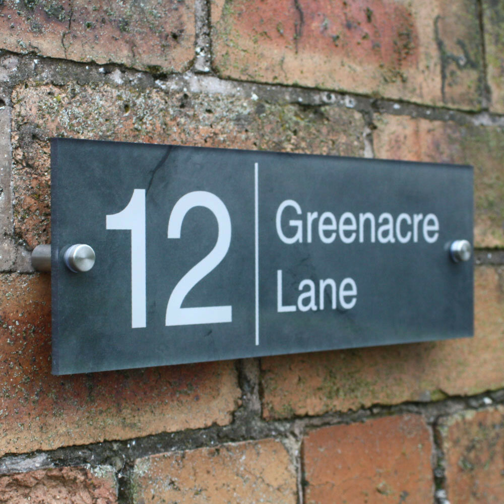 Acrylic house sign with stand offs slate effect modern for Modern house number plaques