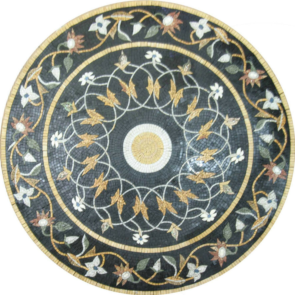 Round medallion pool floor carpet art mix home decor wall for Mosaic home decor