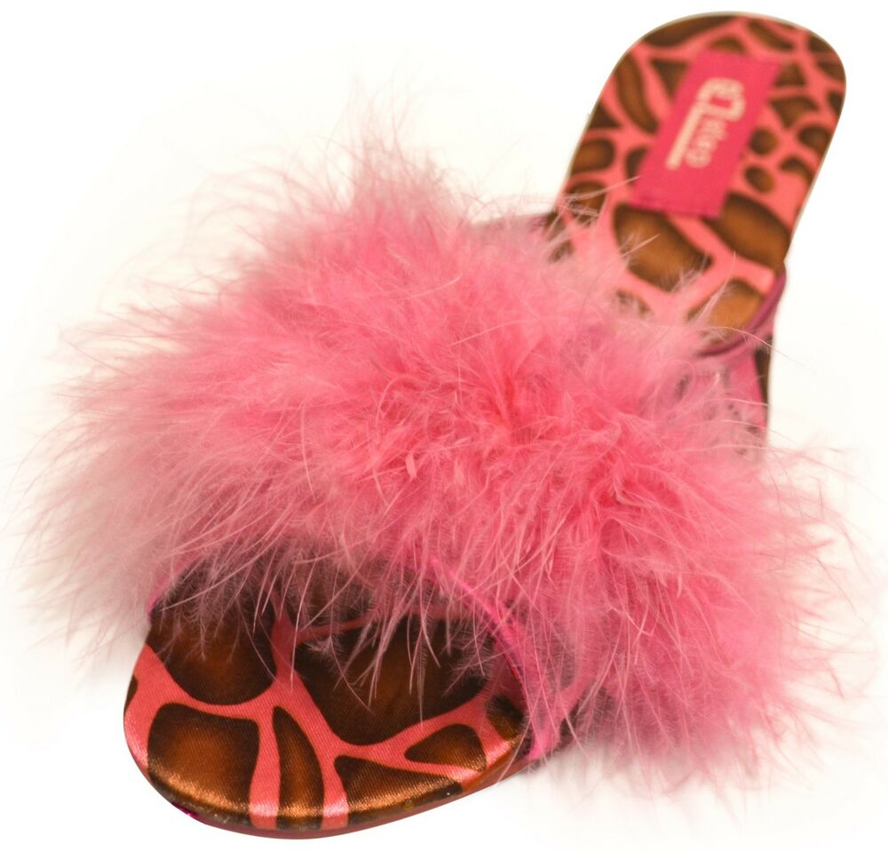Shoes With Ostrich Feathers Red