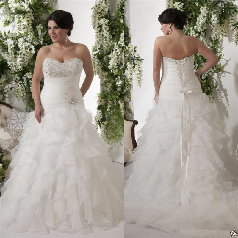 Ruffles Plus Size New Bride White Ivory Wedding Dress Ball Bridal Gown Custom