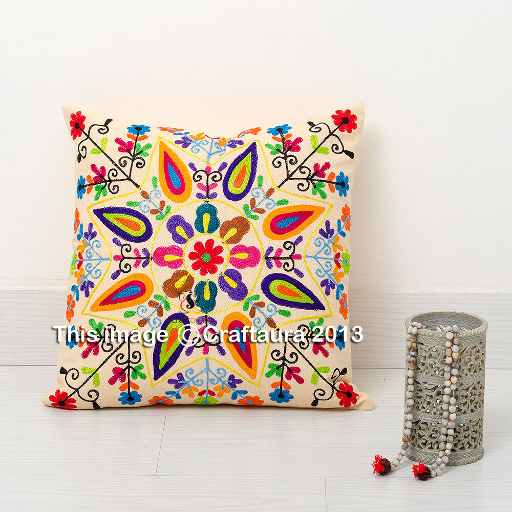 16x16 Decorative Pillow Covers : Ethnic Floral Cushion Cover Embroidered 16x16'' Pillow Throw 16 size Suzani Case eBay