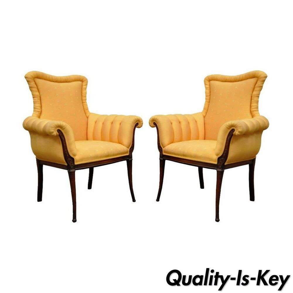 Pair Of Vintage Hollywood Regency French Style Carved