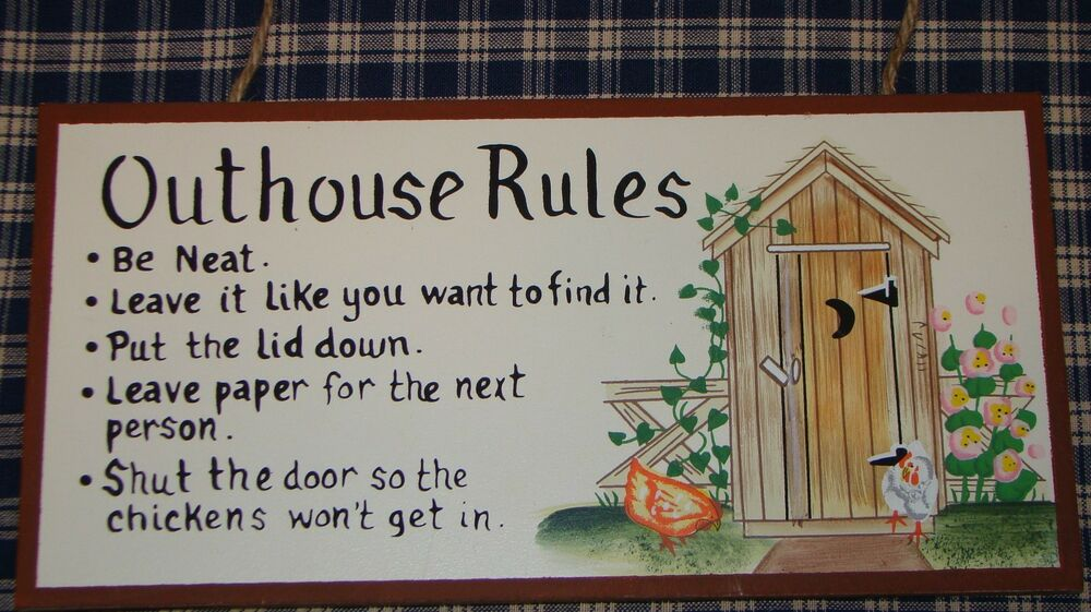Outhouse Rules Primitive Vintage Bathroom Sign Decor