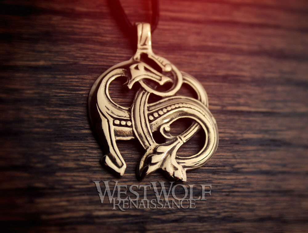 Viking Sea Dragon Pendant Norse Celtic Knot Beast Gold