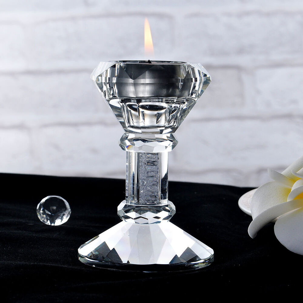 Crystal candlesticks candle holder pillar holders wedding party home decor ebay Home decor candlesticks