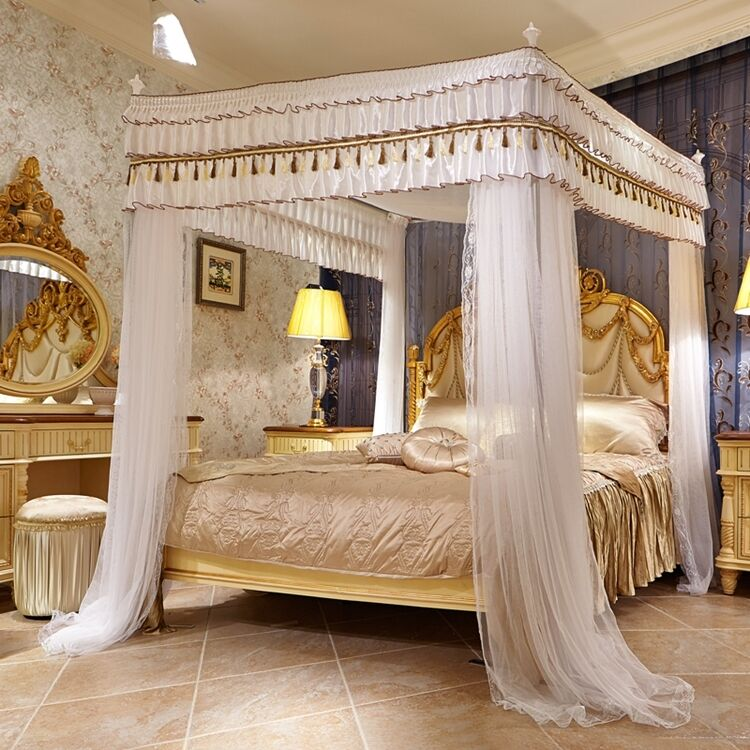 Luxury Canopy For Bed Drapes Mosquito Net With 4 Corner