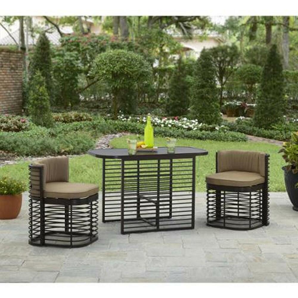 Outdoor patio 3pc bistro set garden table and chair cushioned seat cafe table ebay - Bistro sets for small spaces collection ...