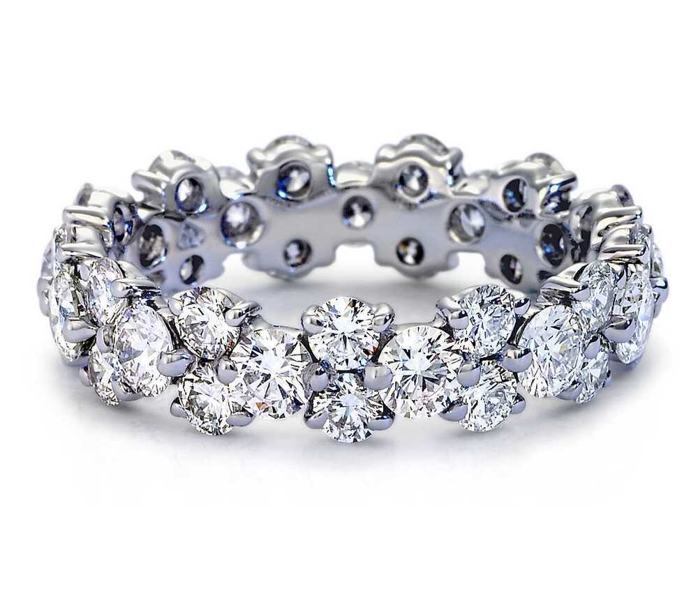 5.00CT ROUND CUT DIAMOND FULL ETERNITY RING 14K WHITE GOLD