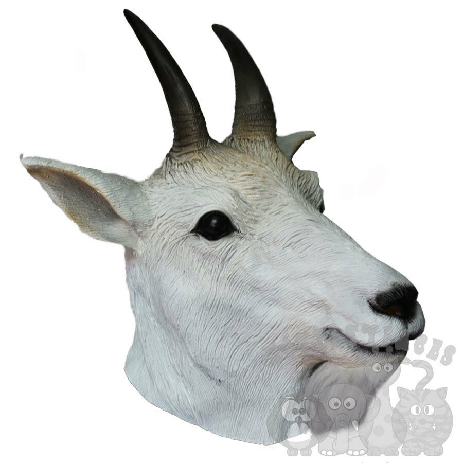 Details about Latex Animal Overhead Hoofed Rocky Mountain Goat Props Stag  Hen Fancy Party Mask