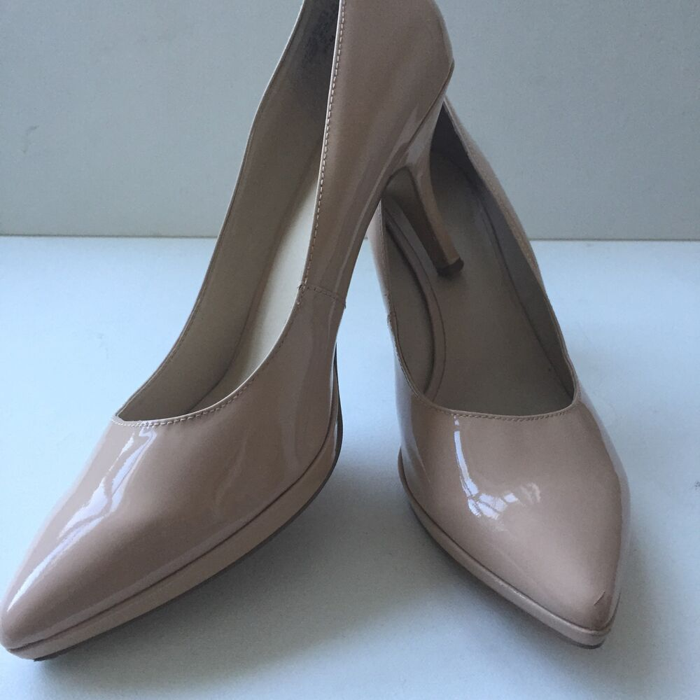 Nine West Womens Size 9.5 Nude Pumps Heels Shoes Shiny | eBay