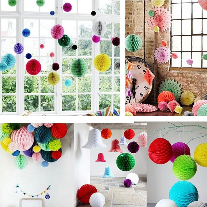 Paper lanterns honeycomb balls tissue pom pom flower wedding party hanging decor ebay - Hanging paper balls decorations ...