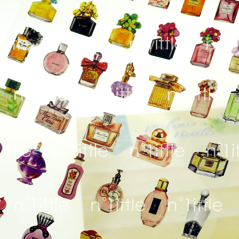 Perfume bottle style transparent diary deco stickers for Stickers deco