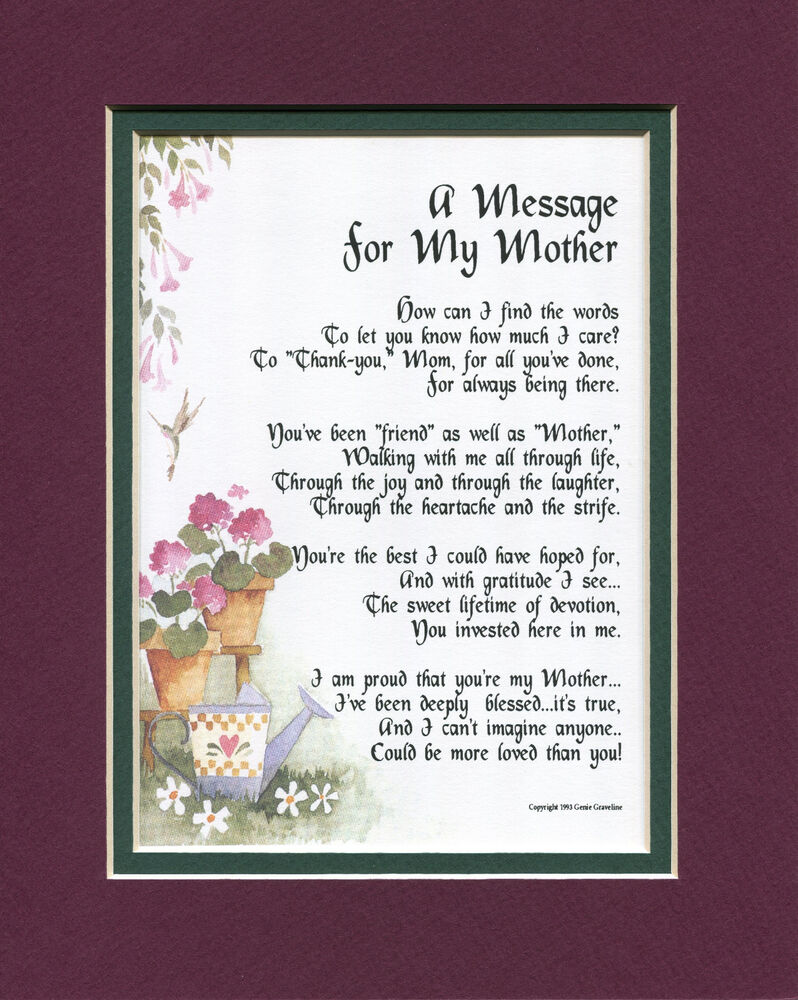 Details About 8 Mothers Day Gift Present Keepsake Poem For Mom Mother 70th 80th Birthday