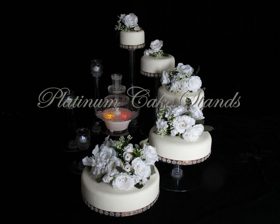 5 Tier Cascade Wedding Cake Stand With Fountain Style