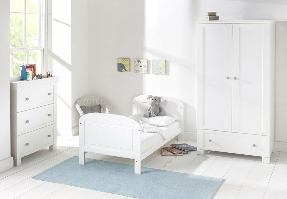 Solid Pine White Wooden Cot Bed Nursery Safety Bedroom