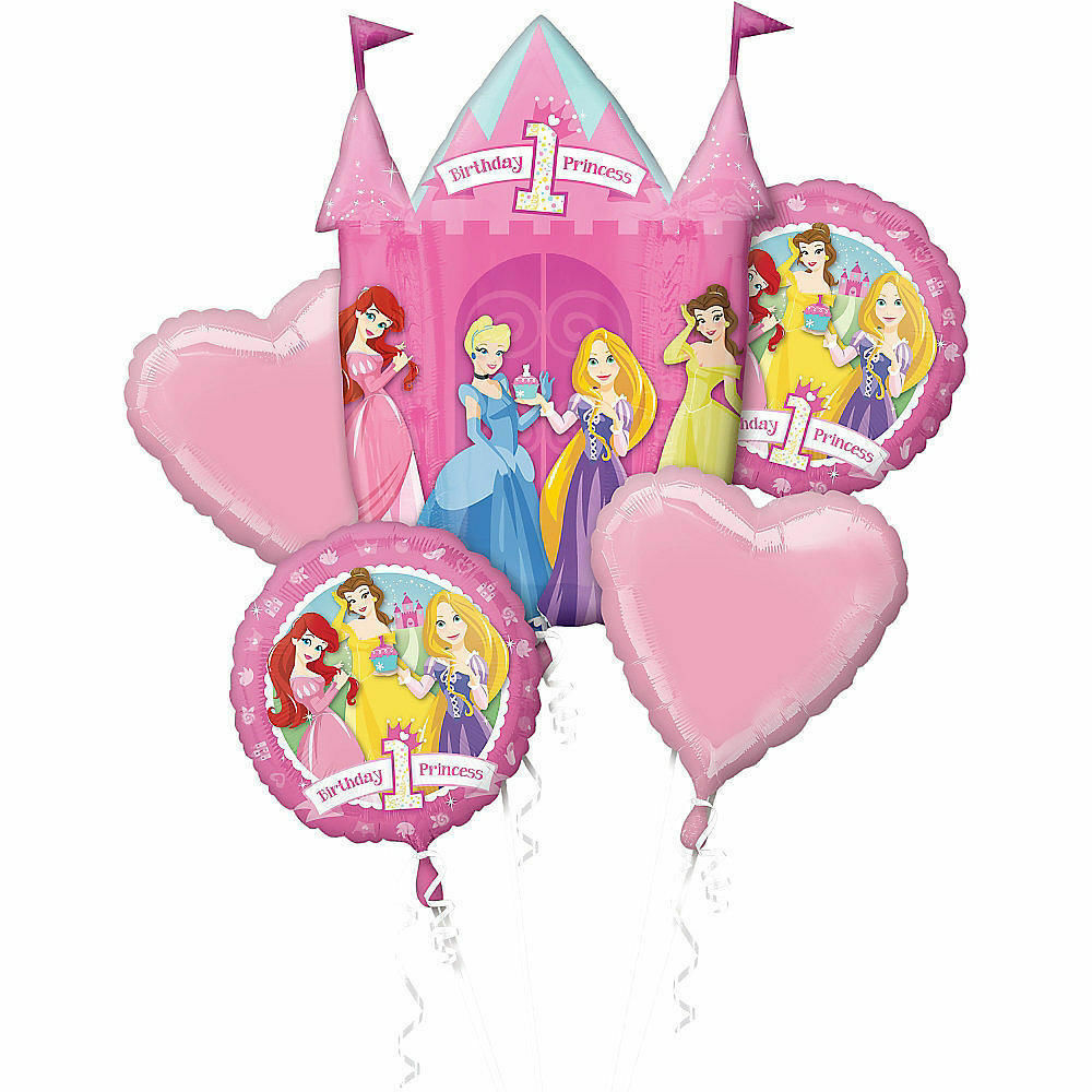 Details About Disney Princess Balloon Bouquet 1st Birthday Party Decoration Supplies First 5pc