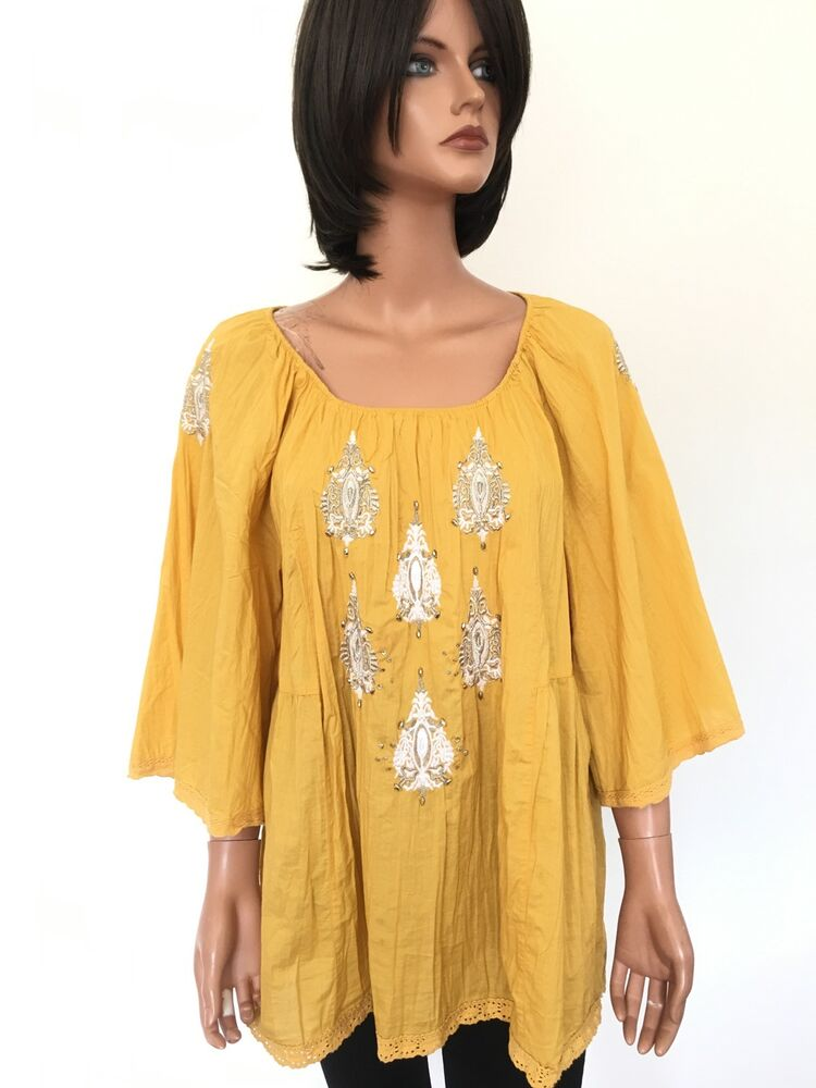 Style Co Women L Cotton Tunic Yellow Boho Hip Designer Fashion Ebay