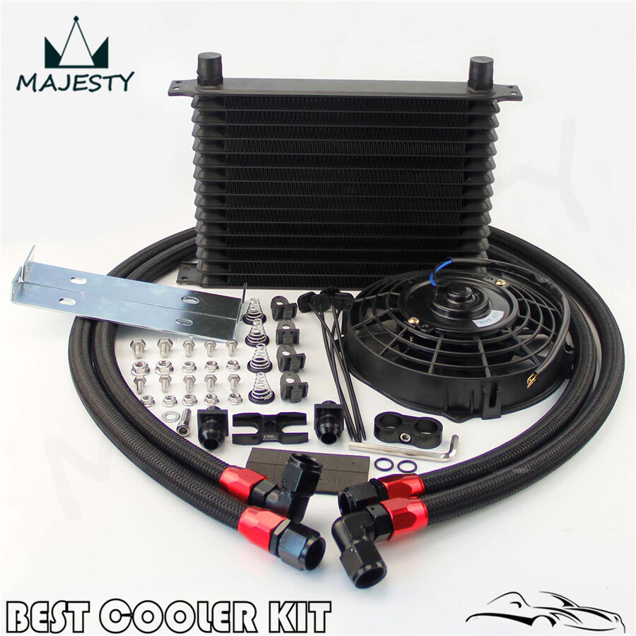 """AN10 15 Row Oil Cooler + 7"""" Electric Fan Kit For BMW E36"""