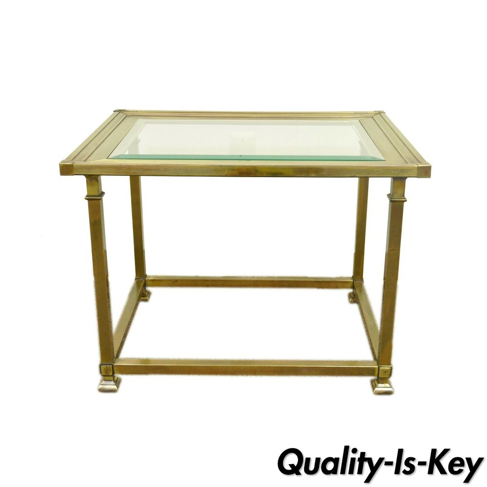 Vintage mastercraft modern brass glass hollywood regency Modern side table