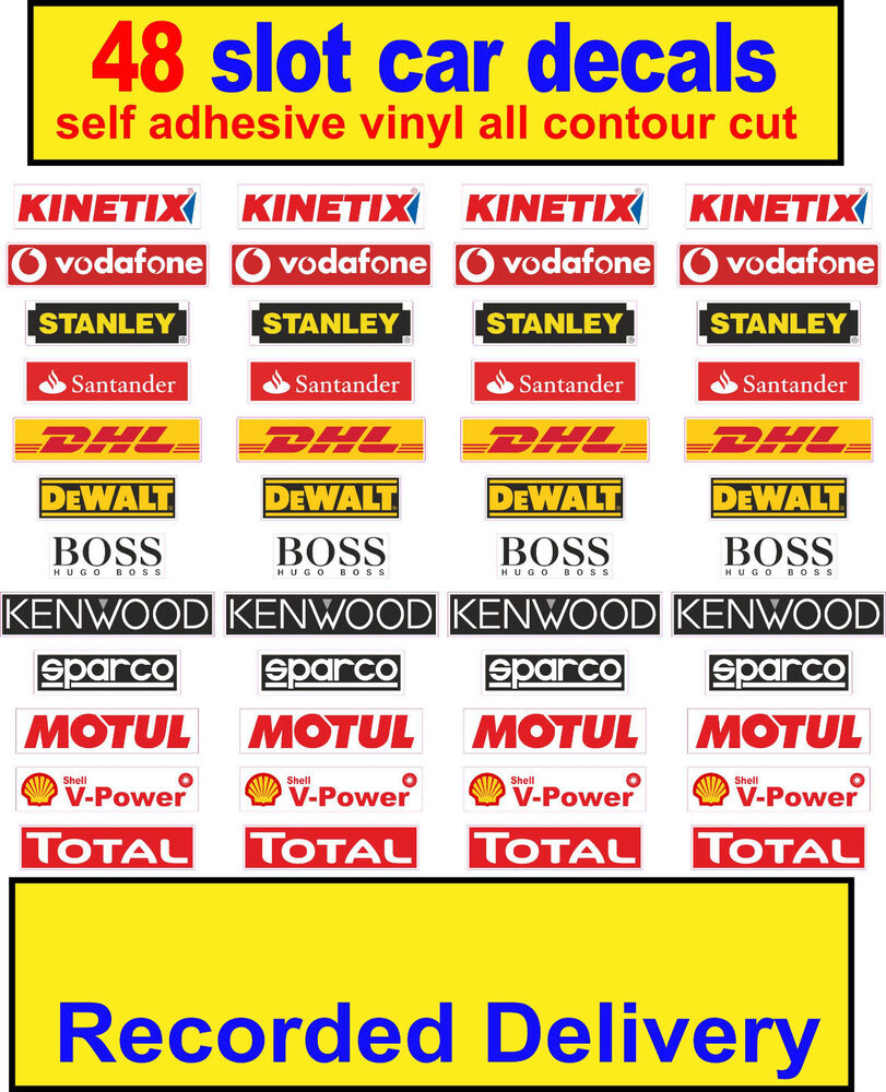 Slot car scalextric barrier sponsor vinyl stickers model race logo lego decal ebay