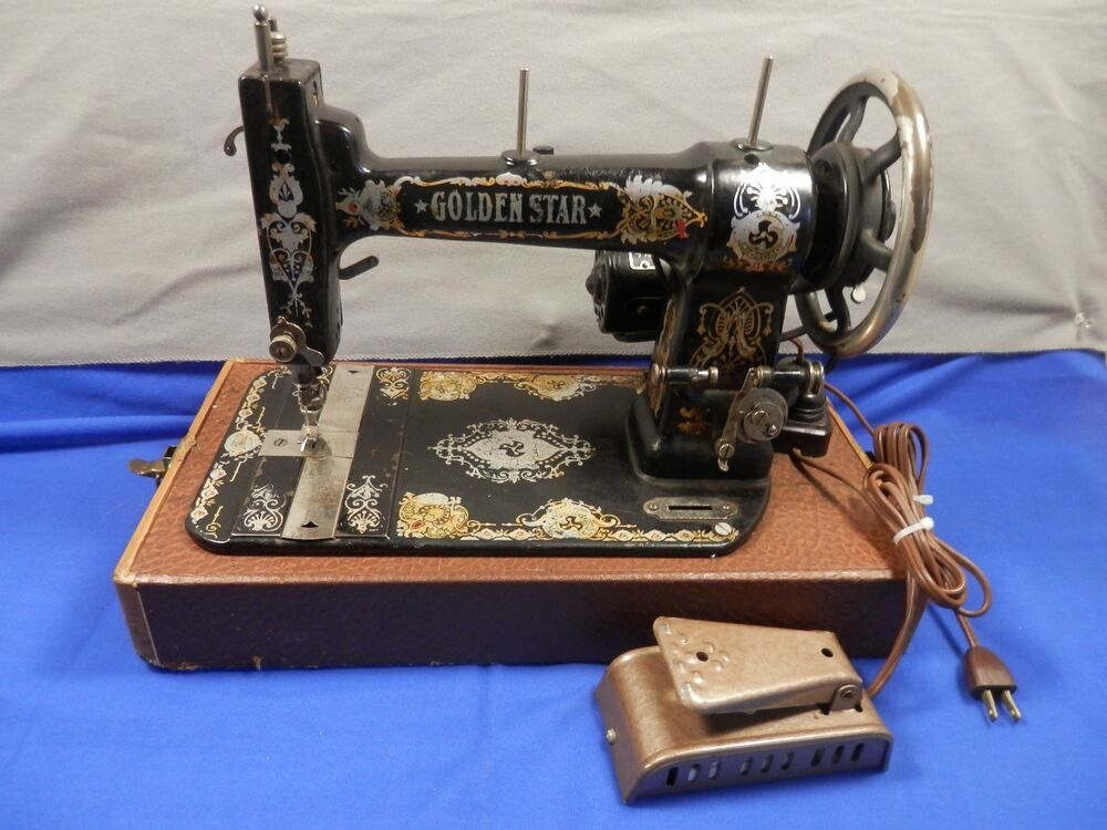 antique golden star sewing machine vintage cast iron ebay. Black Bedroom Furniture Sets. Home Design Ideas