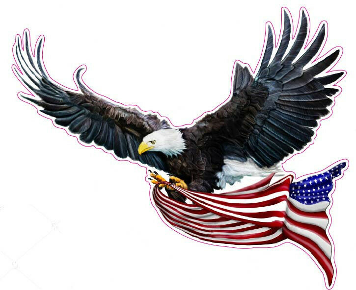 Soaring Eagle American Flag Decal 12 Quot X 9 Quot Free Shipping
