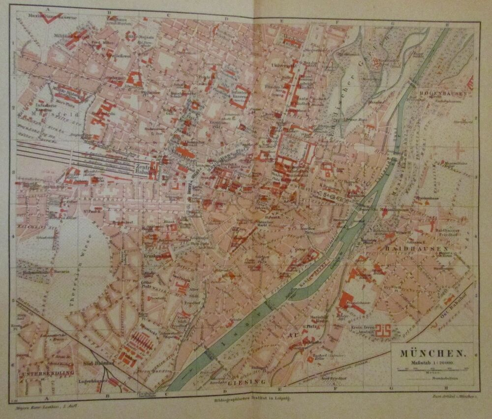 1896 m nchen deutschland alte landkarte stadtplan antique city map lithographie ebay. Black Bedroom Furniture Sets. Home Design Ideas