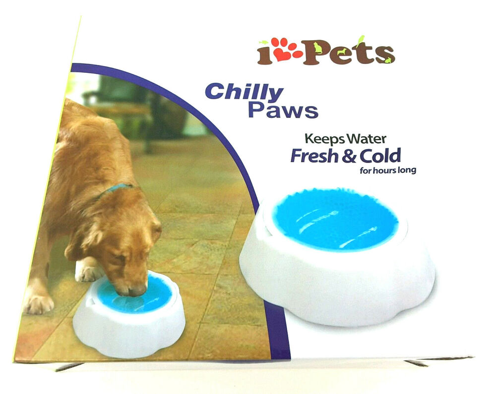 Chilly Paws I Love Pets Dog Water Bowl Keeps Water Cold Ebay