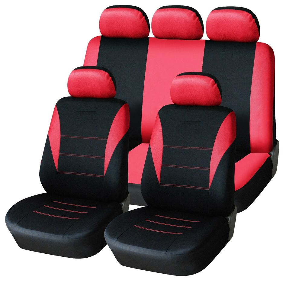 sporty to fit ford fiesta focus mondeo fusion ka car seat covers red black ebay. Black Bedroom Furniture Sets. Home Design Ideas