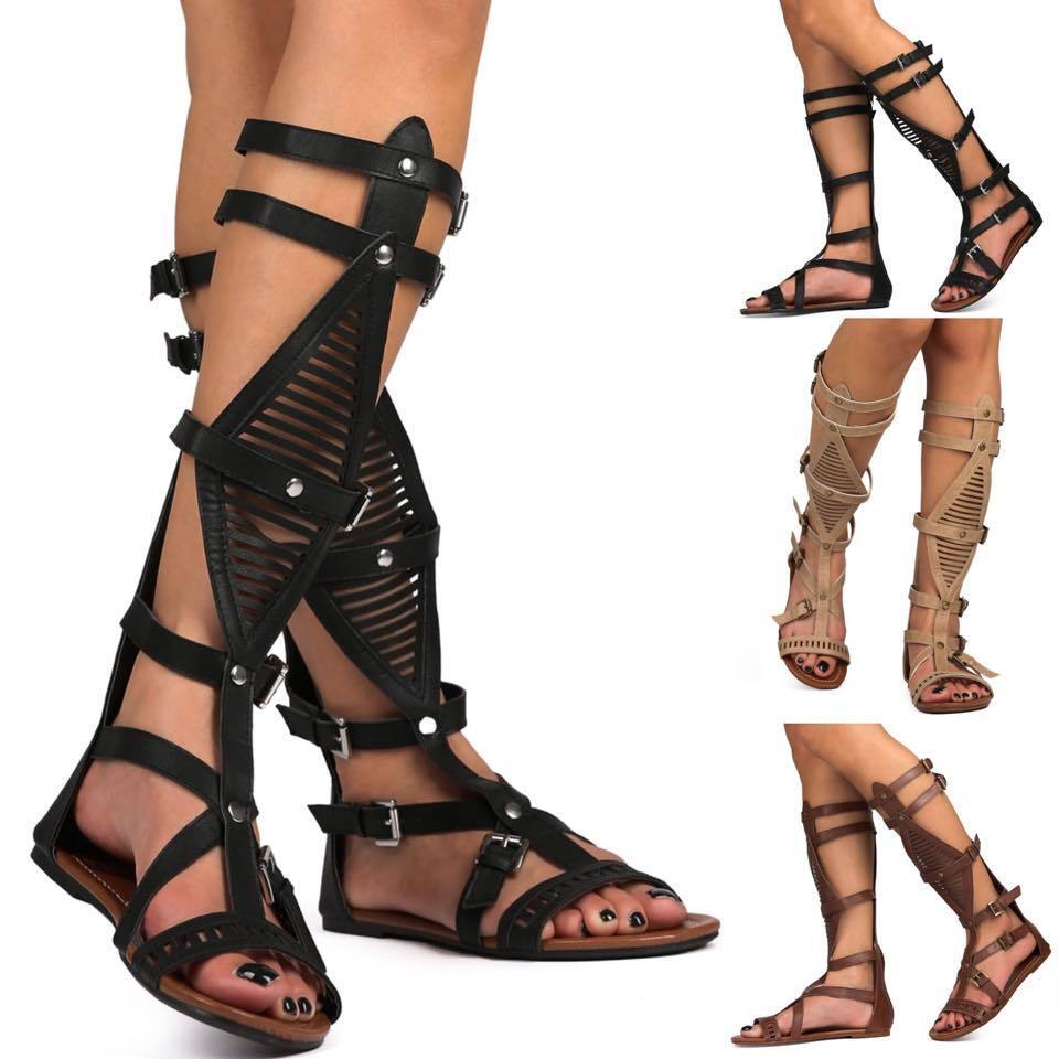 studded open toe hallow gladiator mid calf knee high