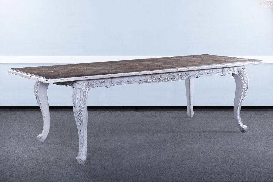 French handcarved distressed white extension dining table for Distressed white dining table